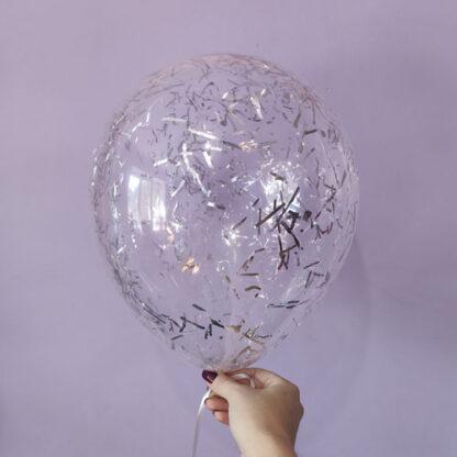 шар с конфетти серебро